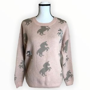 Dreamers pastel pink silver sequin unicorn sweater